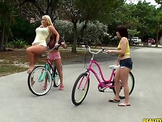 Bicycle, Big Ass, Big Tits, Blonde, Brunette, Chloe, HD, Lesbian, Molly Cavalli, Rachel Roxxx,
