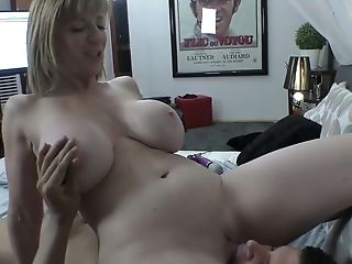Ass, Big Tits, Blonde, Blowjob, Bold, Boots, Cowgirl, Creampie, Dildo, Fake Tits,