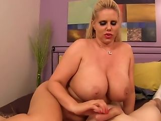 BBW, Big Tits, Blonde, Couple, Handjob, Karen Fisher, POV,