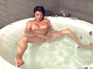 Bathroom, Female Ejaculation, Masturbation, Model, Natural Tits, Sex Toys, Shaved Pussy, Solo,