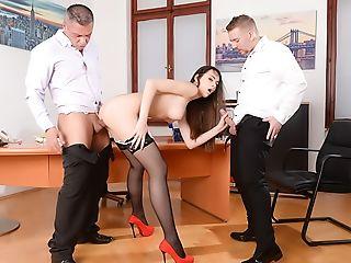 Anal Sex, Blowjob, Brunette, Cumshot, Double Penetration, Lingerie, Massage, Natural Tits, Pussy, Secretary,