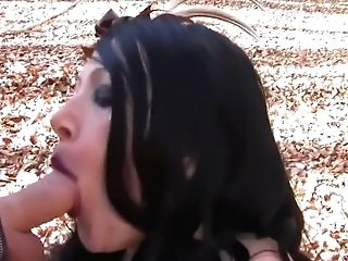 Amateur, Big Tits, Blowjob, Brunette, Cum, Felching, Forest, German, Gloves, Handjob,