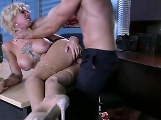 Big Tits, Blonde, Blowjob, Bobcat, Cougar, Curly, Deepthroat, Desk, Facesitting, Fake Tits,