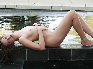 Babe, Boobless, HD, Masturbation, Moaning, Outdoor, Pool, Romantic, Sexy, Solo,
