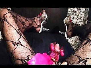 Lingerie, Makeup, Masturbation, Sex Toys, Shemale, Solo, Stockings,
