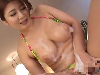 Ass, Big Natural Tits, Couple, Dick, Handjob, Japanese, Jerking, Natural Tits, POV, Soapy Massage,