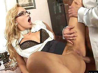 Anal Sex, Beauty, Blonde, Bra, Clothed Sex, Couple, Glasses, Hardcore, Long Hair, Office,
