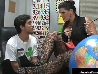 Angelina Castro, BBW, College, Cumshot, Foot Fetish, Footjob, HD, Threesome,
